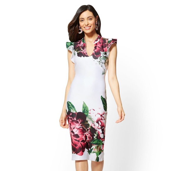 1ec428e62 New York & Company Dresses | Nyco 7th Ave Ruffled Sleeve Floral ...